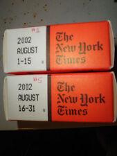 August 2002 New York Times on MICROFILM - 2 reels of film