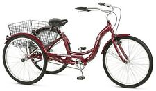 Schwinn Meridian Tricycle Adult Bicycle BikeTrike Ride Basket 3 Wheel Cruiser 26