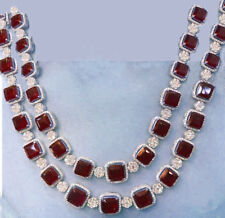 DOUBLE LINE FINE QUALITY RED ONYX SQUARE NECKLACE WITH 92.5 STERLING SILVER
