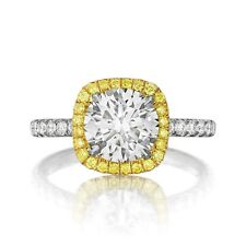 3 CARAT FOREVER ONE MOISSANITE YELLOW DIAMOND HALO 18K TWO TONE ENGAGEMENT RING