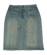 MOSSIMO sz 2 Dark Wash Denim Blue Jean Pencil Skirt Stretch Front Slit Straight