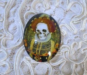 Skeleton Queen 30X40mm Glitter Unset Handmade Glass Art Bubble Cameo Cabochon