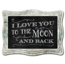 Chalk it Up Framed Wood Sign---LOVE YOU TO THE MOON AND BACK---Large Plaque