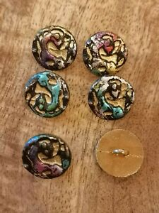 Beautiful Multi Coloured Pearl/Enamel Effect Vintage Buttons
