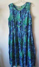 1990s Summer Dress COTTON Blue Green Sea Ferns Tea Dress Sz  14 Hamells