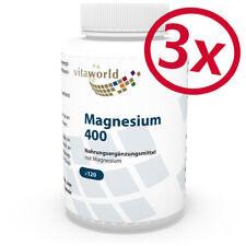Pack di 3 Magnesio 400mg 360 Capsule Vita World Produzione farmacia Germania