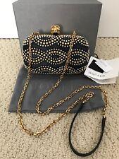 NIB Alexander McQueen Black Studded Skull Chain Strap Clutch Bag Handbag $2450