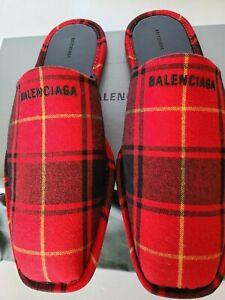 New Balenciaga Men's Red & Black Tartan Carrera Mule Slippers US 11 / Eur 44