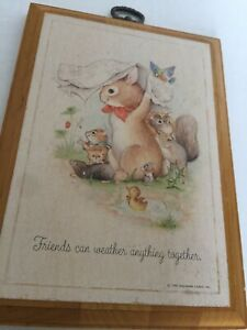 vintage 1980 HALLMARK Plaque Friends Can Weather Anything Together Animals Pic