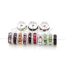 100pcs 5/6/8/10/12mm Round Crystal European Beads Silver Plated Rhinestone IF