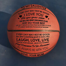 To My Daughter Love You From Mom Engraved Basketball Ball Gift Birthday