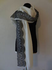 """New NORDSTROM  Scarf  L 80"""" x W 35"""" --With Lace Tream WOOL / CASHMERE (Ivory)"""