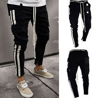Mens Skinny Denim Slim Fit Jeans Cargo Pants Biker Distressed Joggers Trousers