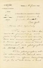 GEORGES BOULANGER - AUTOGRAPH LETTER SIGNED 02/18/1882
