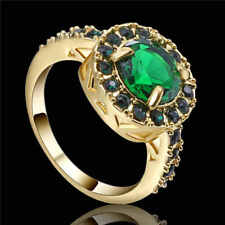 Men&Women's 10KT yellow Gold Filled Fashion Size 9 Green(Emerald)Engagement Ring