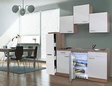 respekta Küchenzeile Miniküche Singleküche Küche 180 cm Eiche sägerau weiss
