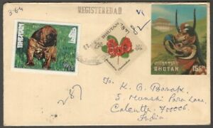 AOP Bhutan 15ch Mask 3D stamp on registered cover to India