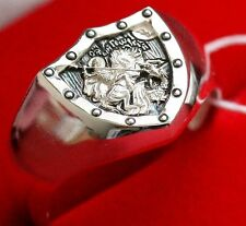 Shield Saint George Warrior Defeating the Dragon Silver 925 Orthodox Prayer Ring