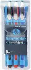3 Pack - SCHNEIDER Slider Memo XB Ballpoint Pens - BLACK, BLUE, RED - New