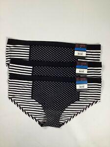 Womens No Boundaries White Black Stripe Seamless Hipsters 3 pack NEW! NWT