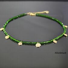 Damen tannen grün BICONE Glas Perlen Kette mit Gold Münzen 45cm Karabiner