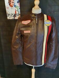STEVE MCQUEEN VINTAGE NEW BROWN Le Mans GP Biker COWHIDE Leather Jacket LARGE