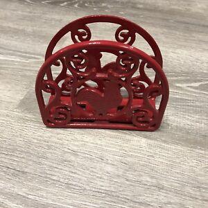 Farmhouse Napkin Holder Kitchen Decor Red Cast Iron Rooster Chicken Heavy 1