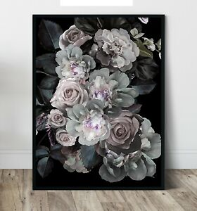 Floral Painting -Decadent blooms Wall Art Print, Canvas A4,A3,A2,A1,A0, On trend
