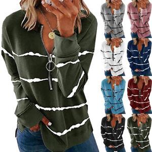UK Womens Casual T Shirt Striped Loose Blouse Tee Long Sleeve Ladies Zipper Tops