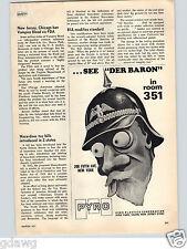 1971 PAPER AD Pyro Plastrics Corp Co Der Baron Head Shot