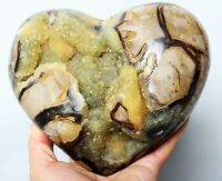 7.17 LB Polished DRAGON SEPTARIAN Calcite GEODE SPHERE HEART Mineral Specimen