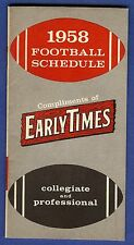 1958 Early Times Collegiate & Professional Football Schedule