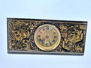 Soviet VTG Rare Jantar Table Clock  From Wood Zodiak Pattern  Quartz USSR 1970s