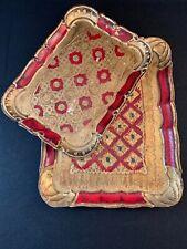 Pair Vintage Hand Painted Italian Florentine Wood Toleware Dresser Trays Red