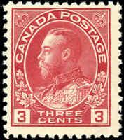 Mint NH 1923 Canada F+ 3c Scott #109 King George V Admiral Issue Stamp