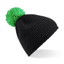 Bonnet noir pompon Vert MIXTE effet Fait main hiver ski marque Beechfield