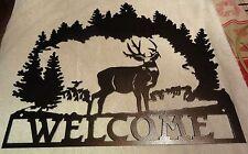 Deer Welcome Sign silhouette metal wall art home decor