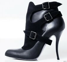 new $1095 MANOLO BLAHNIK 'Glaner' black buckled ANKLE BOOTS shoes 40.5 10.5 SEXY
