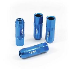 VMS 20 BLUE 60MM ALUMINUM EXTENDED TUNER LUG NUTS LUGS FOR WHEELS RIMS 12X1.5