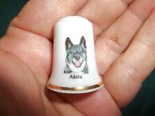 vintage Akita Dog Collectible ceramic Thimble figurine Fine Lim.Edition