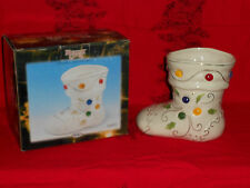 Porcelain Jeweled Boot Holiday Gifts Christmas Collectible Candy Table Acc NOS