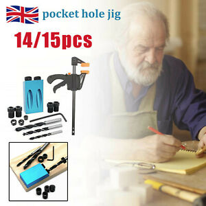 14/15pcs Pocket Hole Jig Kit Woodworking Guide Oblique Drill Angle Hole Locator