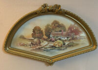 """Home Interior Homco Farm Scene Picture  Fan Shaped Horse Buggy 16""""x10.75"""" Vintag"""