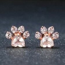 Cute Jewelry Fashion Ear Stud Dogs Footprints Paw Earrings Rose Quartz