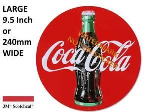 VINTAGE COKE COCA COLA  DECAL STICKER LABEL LARGE 250mm DIA FRIDGE ESKY