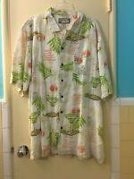Big Dogs Hawaiian Shirt Men XL Linen Blend Resort Wear Tropical Cocktails Multi