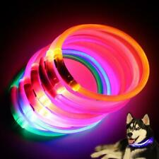NEW LED USB Waterproof Rechargeable Collar Flashing Light Band Dog Safety Belt