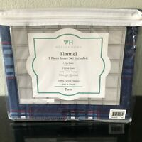 WH Wexley Home 100% Cotton Flannel Twin Sheet Set Plaid pattern 3 Pc Sheet set