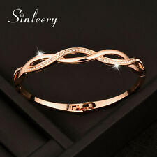 Charm Crystal Cross Hollow Bracelets Bangle for Women 18K Rose Gold Plated Sl217