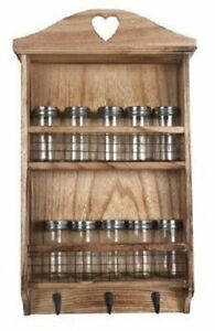 Wooden Wall Hanging Kitchen Herb Spice Rack, 10 Glass Screwtop Jars & 3 Hooks